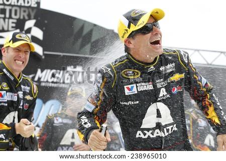 Brooklyn, MI - Aug 17, 2014:  Jeff Gordon (24) wins the Pure Michigan 400 at Michigan International Speedway in Brooklyn, MI.  - stock photo