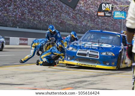 BROOKLYN, MI - JUN 17, 2012:  Brad Keselowski (2) brings in his car for service during the Michigan International Speedway in Brooklyn, MI on June 17, 2012. - stock photo