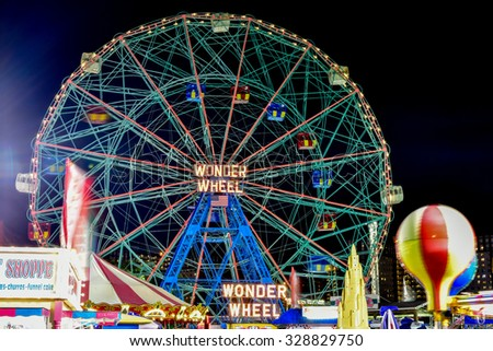 Brooklyn, New York - August 28, 2015: Wonder Wheel: Coney Island's Luna Park in Brooklyn, New York.