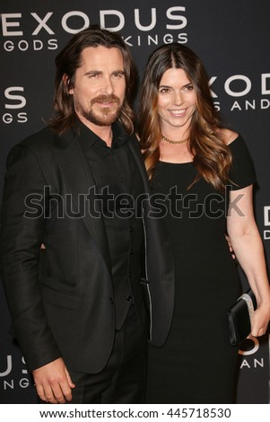 Brooklyn, New York; December 7th, 2014; Christian Bale and wife Sibi Blazic arrive to the premiere of Exodus: Gods and Kings at the Brooklyn Museum. - stock photo
