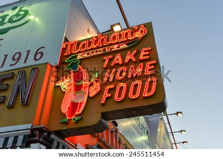 BROOKLYN, NEW YORK - JANUARY 1, 2015: Nathan's Famous Hotdogs is a historic landmark and tradition at Coney Island in Brooklyn, New York. - stock photo