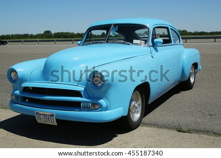 BROOKLYN, NEW YORK - JUNE 12, 2016: Historical 1951 Chevrolet on display at the Antique Automobile Association of Brooklyn annual Spring Car Show  - stock photo
