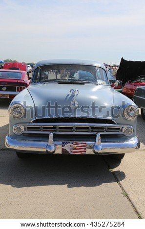 BROOKLYN, NEW YORK - JUNE 8, 2014: Historical 1953 Dodge on display at the Antique Automobile Association of Brooklyn annual Spring Car Show in Brooklyn, New York  - stock photo