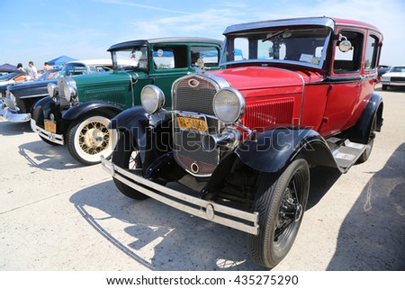 BROOKLYN, NEW YORK - JUNE 8, 2014: Historical 1931 Ford on display at the Antique Automobile Association of Brooklyn annual Spring Car Show in Brooklyn, New York  - stock photo