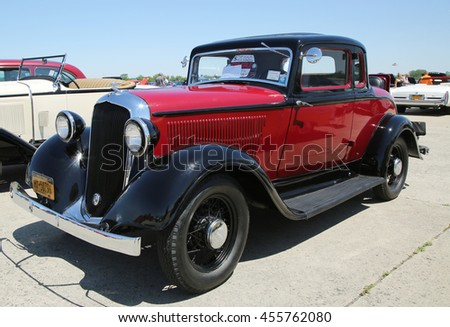 BROOKLYN, NEW YORK - JUNE 12, 2016: Historical 1933 Plymouth on display at the Antique Automobile Association of Brooklyn annual Spring Car Show  - stock photo
