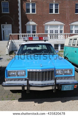 BROOKLYN, NEW YORK - JUNE 8, 2014: Vintage NYPD Plymouth police car on display at the Antique Automobile Association of Brooklyn annual Spring Car Show in Brooklyn, New York  - stock photo