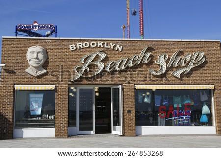 BROOKLYN, NEW YORK - MARCH 19, 2015: Brooklyn's Landmark Coney Island Beach Shop at Coney Island boardwalk in New York - stock photo