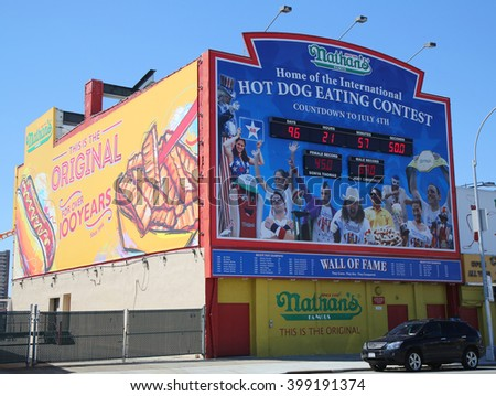 BROOKLYN, NEW YORK - MARCH 29, 2016: The Nathan's hot dog eating contest Wall of Fame at Coney Island, New York. The original Nathan's still exists on the same site that it did in 1916