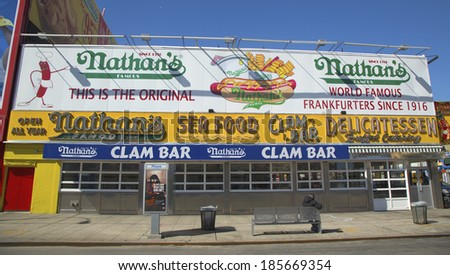 BROOKLYN, NEW YORK - MARCH 18: The Nathan s original restaurant on March 18, 2014 at Coney Island, New York. The original Nathan s still exists on the same site that it did in 1916