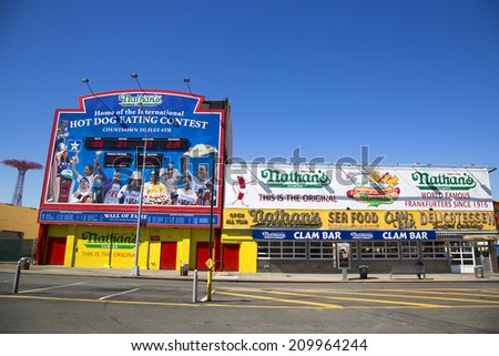 BROOKLYN, NEW YORK - MARCH 18 : The Nathan s original restaurant on March 18, 2014 at Coney Island, New York. The original Nathan s still exists on the same site that it did in 1916