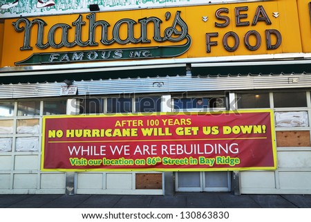 BROOKLYN, NEW YORK - MARCH 5:The Nathan's rebuilding after damage by Hurricane Sandy on March 5, 2013 at Coney Island. The original Nathan's still exists on the same site that it did in 1916 - stock photo