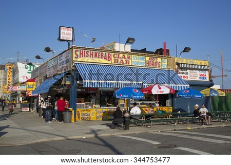 BROOKLYN, NEW YORK - MAY 17, 2014: Bay side restaurants in Coney Island,  Brooklyn