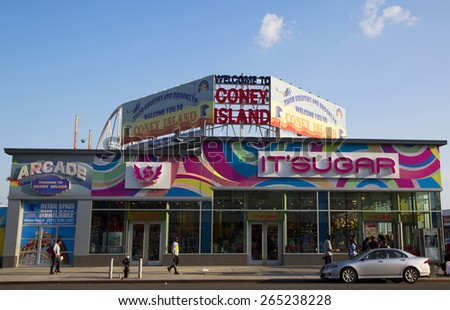 BROOKLYN, NEW YORK - MAY 17, 2014: Welcome to Coney island sign in the Coney Island section of Brooklyn