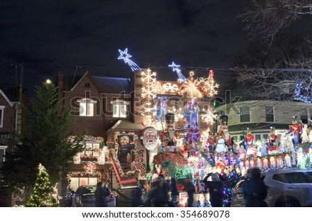 BROOKLYN, NEW YORK, USA - DECEMBER 19: A house in Dyker Heights with Christmas lights  between 11th and 12th avenue and 83rd street.  Taken December 19, 2015 in New York. - stock photo