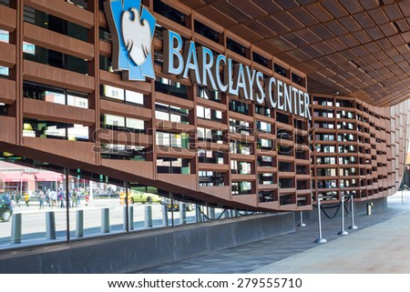 BROOKLYN, NY - APRIL 25, 2014:  Exterior view of details of the Barclays Center in New York City - stock photo