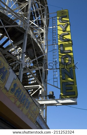BROOKLYN, NY - DECEMBER 18:  Signage at the entrance to the Astroland Cyclone Rollercoaster is shown December 18, 2004 in the Coney Island neighborhood of New York City.  - stock photo