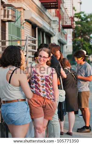 BROOKLYN, NY - JUNE 20:  Attendees outside  at the Northside Festival screening of Ai WeiWei: Never Sorry, directed by Alison Klayman, presented by IFC at UnionDocs in Brooklyn, NY on June 20,2012. - stock photo