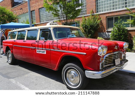BROOKLYN, NY -JUNE 21: 1967 Checker Aerobus A12 car produced by the Checker Motors Corporation in Brooklyn on June 21, 2014. The Checker remains the most famous taxi cab vehicle in the United States