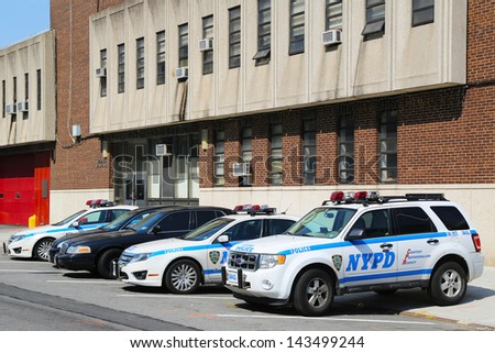BROOKLYN, NY- MAY 30:NYPD 60th Precinct in Brooklyn , NY on May 30, 2013. The New York Police Department, established in 1845, is the largest police force in USA - stock photo