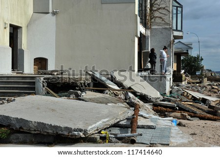 BROOKLYN, NY - NOVEMBER 01: Serious damage in the buildings at the Seagate neighborhood due to impact from Hurricane Sandy in Brooklyn, New York, U.S., on Thursday, November 01, 2012. - stock photo