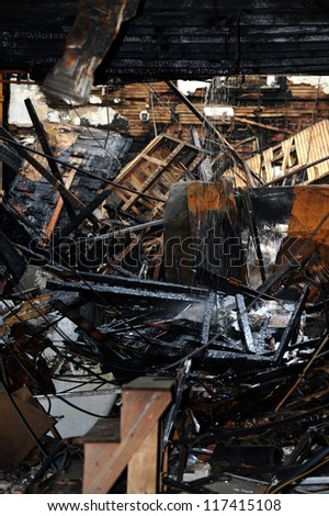 BROOKLYN, NY - NOVEMBER 01: Serious damage in the buildings from fire at the Brighton Beach neighborhood due to impact from Hurricane Sandy in Brooklyn, New York, on Thursday, November 01, 2012. - stock photo