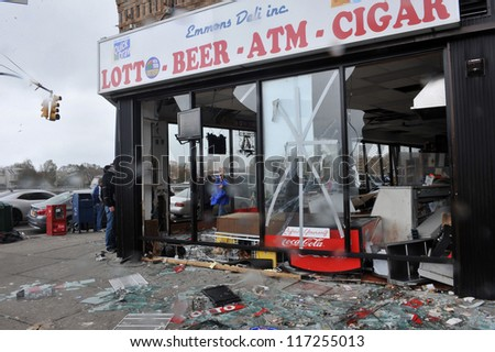 BROOKLYN, NY - OCTOBER 30: Destroyed grocery store in the Sheapsheadbay neighborhood due to flooding from Hurricane Sandy in Brooklyn, New York, U.S., on Tuesday, October 30, 2012.