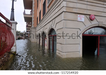 BROOKLYN, NY - OCTOBER 30: Seriouse flooding in the buildings at the Sheapsheadbay neighborhood due to impact from Hurricane Sandy in Brooklyn, New York, U.S., on Tuesday, October 30, 2012. - stock photo