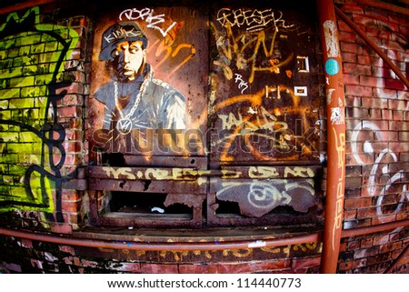 Brick wall graffiti stock images royalty free images for Art and craft store in brooklyn ny