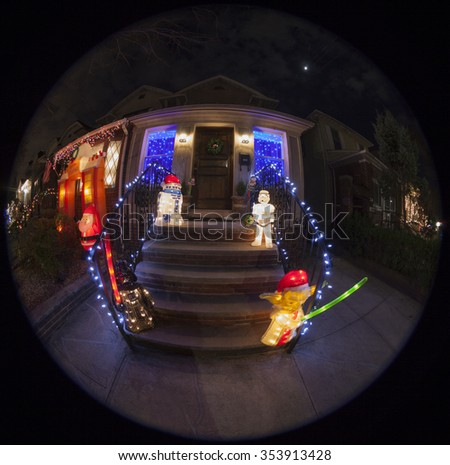 Brooklyn, NY USA - December 19, 2015: Christmas decorations Star Wars theme on streets of Dyker Heights neighborhood in Brooklyn