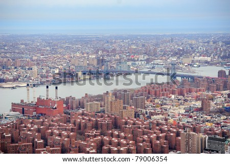 Brooklyn skyline Arial view from New York City Manhattan with Williamsburg Bridge  over East River and skyscrapers - stock photo