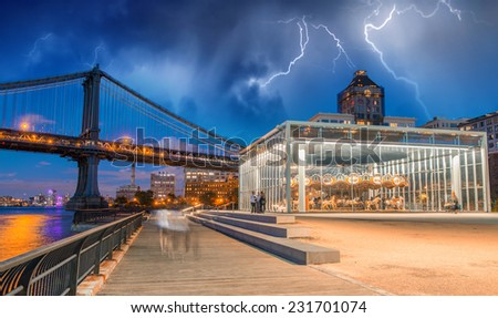 Brooklyn. Storm over Manhattan Bridge. - stock photo