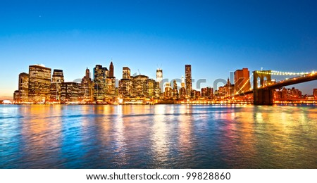 Brooklyn view of Manhattan, New York City. USA. - stock photo