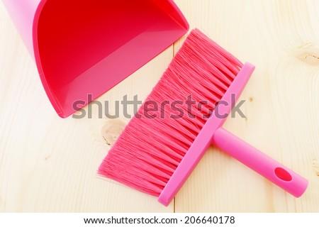 Broom and dustpan  - stock photo
