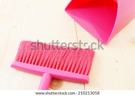Broom and dustpan - stock photo