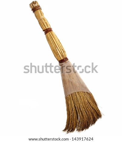 broom antique old  isolated on white background