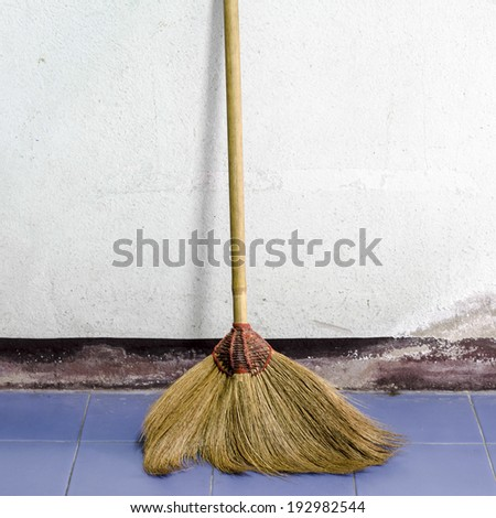 broom for cleaning in house - stock photo