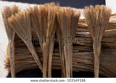 broom for cleaning rooms and offices - stock photo