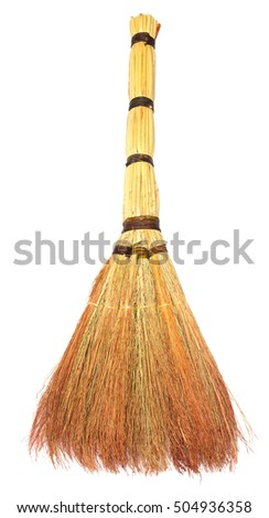 Broom for cleaning the house and pointing purity isolated on white background