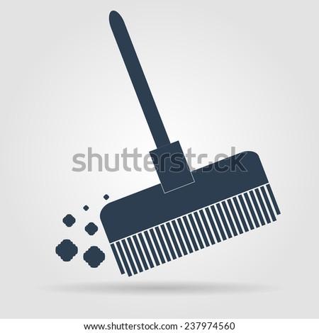 Broom  icon Flat  - stock photo