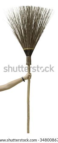 broom in arm - stock photo