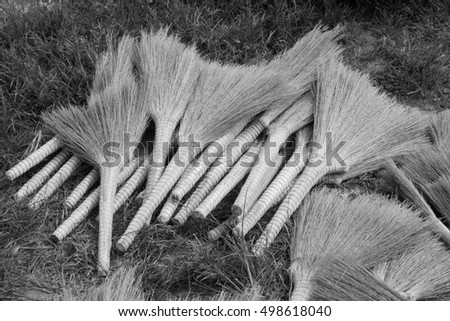 broom on the market in the countryside, closeup of photo