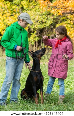 Brother and his sister are standing near the dobermann in the park. - stock photo