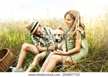 brother and sister in a wheat field with a dog - stock photo
