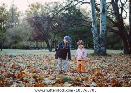 brother and sister in the autumn park