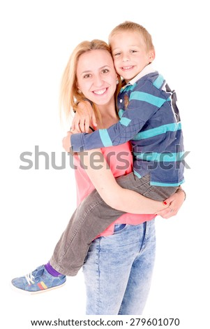 brother and sister isolated in white background - stock photo