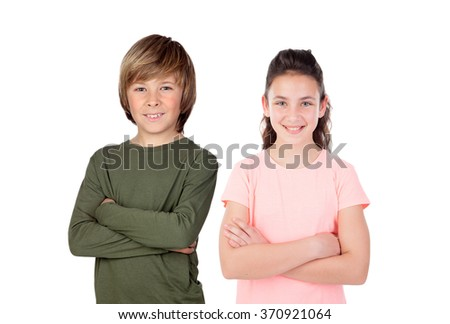 Brother and sister isolated on a white background - stock photo