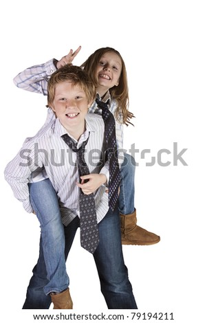 Brother and Sister Playing Around - Isolated Background