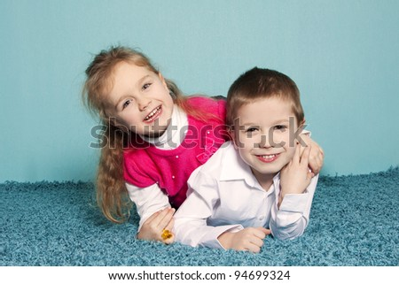 Brother and sister portrait - stock photo
