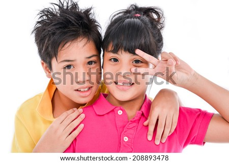 brother and sister together - stock photo