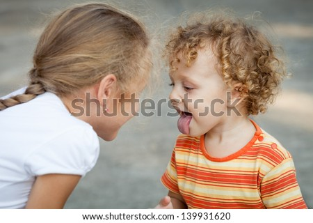 Brother And Sister Together Forever - stock photo